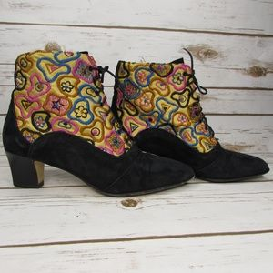 Amiana Lace Up Ankle Booties Embroidered Size 5